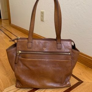 Brown leather Fossil handbag timeless purse